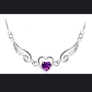 💜 Beautiful Amethyst Silver Heart Necklace
